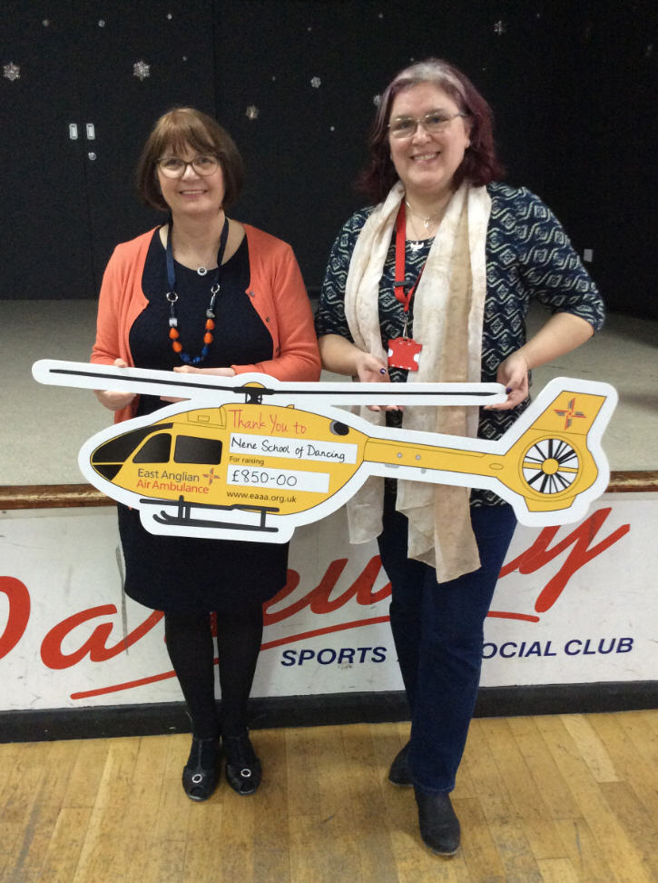 Janina Mossman Presents Cheque To East Anglian Air Ambulance